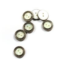Packs of 5 Vintage Silver Rim Mother of Pearl Button in 3 Sizes
